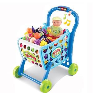 Einkaufswagen mit Licht und Sound aus Kunststoff inklusive Obst, Gemüse und 36 teiligem Zubehör