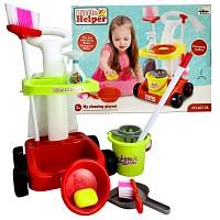 Kinder Putzwagen Reinigungswagen mit Wischmop, Eimer, Besen und weiterem Zubehör