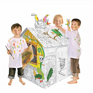 Kartonhaus zum Bemalen Tiere