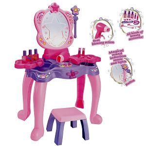 Schminktisch mit magischem Spiegel und Zauberstab - rosa/lila/pink