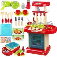 Spielküche zum Mitnehmen Licht Sound rot blau beige