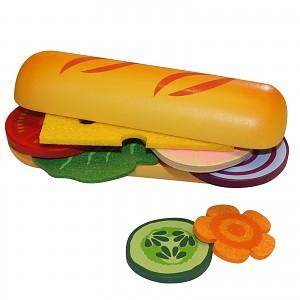 Beluga Food Bag Kaufladen Kinderküche Zubehör Holz Spielzeug Baguette Brötchen sel
