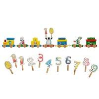 Tabaluga Geburtstagszug aus Holz mit Zahlen von 1-10 Kindergeburtstag Tiermotiv