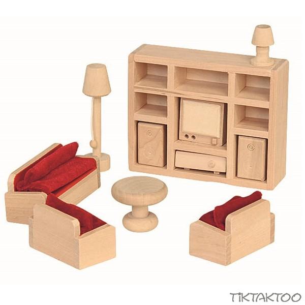 Charmant 11 Teiliges Wohnzimmer Set Für Die Puppenstube Puppenhaus Zubehör  Einrichttung Aus Holz Puppenmöbel