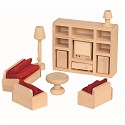 11 teiliges Wohnzimmer Set für die Puppenstube Puppenhaus Zubehör Einrichttung aus Holz Puppenmöbel