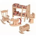 5 teiliges Kinderzimmer Set für die Puppenstube Puppenhaus Zubehör Einrichttung aus Holz Puppenmöbel