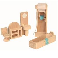 5 teiliges Badezimmer Set für die Puppenstube Puppenhaus Zubehör Einrichttung aus Holz Puppenmöbel