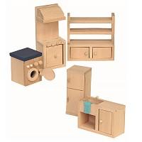 5 teiliges Küchen Set für die Puppenstube Puppenhaus Zubehör Einrichtung aus Holz Puppenmöbel
