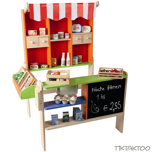 holz kaufladen mit tafel und markise. Black Bedroom Furniture Sets. Home Design Ideas