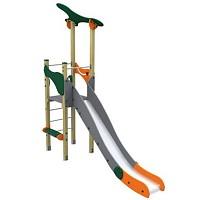 Spielturm im trendigen Design Turm mit Rutsche Holz/ Metall EN1176