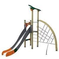 Spielturm im trendigen Design Basic-Farben 2 Turm mit Rutsche und Kletternetz Holz/ Metall EN1176