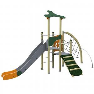 Spielturm im trendigen Design Turm mit Rutsche, Kletternetz und Kletterrampe Holz/ Metall EN1176
