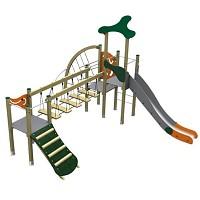 Spielturm im trendigen Design Turm mit Rutsche, Kletternetz, Kletterrampe und Brücke Holz/ Metall EN1176