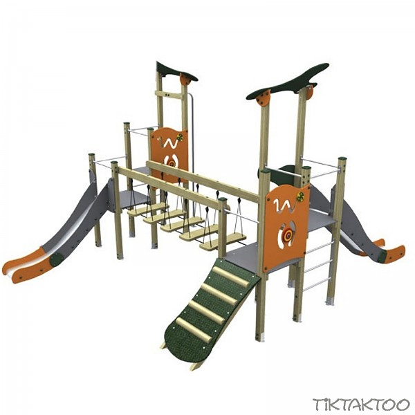 spielturm im trendigen design 2 t rme mit rutschen br cke rampe holz metall en1176 tiktaktoo. Black Bedroom Furniture Sets. Home Design Ideas