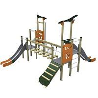 Spielturm im trendigen Design 2 Türme mit Rutschen, Brücke, Rampe Holz/ Metall EN1176