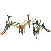 Spiellandschaft imm trendigen Design mit 2 Türme mit Rutschen, Brücke, Rampe Holz/ Metall EN1176