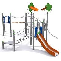 Modernes nahezu wartungsfreies Fitnesscenter zum Klettern und Hangeln mit Rutsche EN1176