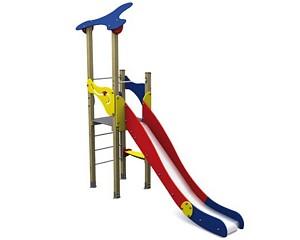 Spielturm in klassichen Basic-Farben 1 Turm mit Rutsche Holz/ Metall EN1176