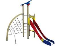 Spielturm in klassichen Basic-Farben 2 Turm mit Rutsche und Kletternetz Holz/ Metall EN1176