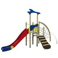 Spielturm im trendigen Designin klassischen Basic-Farben Turm mit Rutsche, Kletternetz und Kletterrampe Holz/ Metall EN1176