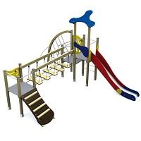 Spielturm in klassischen Farben Turm mit Rutsche, Kletternetz, Kletterrampe und Brücke Holz/ Metall