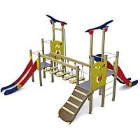 Spielturm in klassischen Farben 2 Türme mit Rutschen, Brücke, Rampe Holz/ Metall EN1176