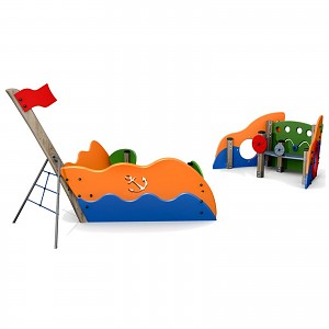 Spielschiff Sandkasten aus FSC zertifiziertem Schichtholz mit HDPE-Platten kombiniert für den öffentlichen Bereich EN1176