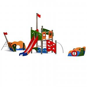 Riesiges Spielschiff mit Kletternetz, Kletterwand, Edelstahlrutsche -ist ein bunter Farbklecks auf jedem öffentlichen Spielplatz