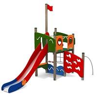 Kletterturm AHOI mit Rutsche, Kletternetz und Kletterstange für öffentliche Spielplätze EN1176 FSC Holz