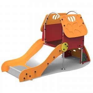 Kinder-Spielhaus mit Kletterrampe und Edelstahlrutsche für den öffentlichen Bereich EN1176