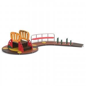 Kinderspielinsel mit Klettertreppe, Bank und Hindernissen für den öffentlichen Bereich EN1176