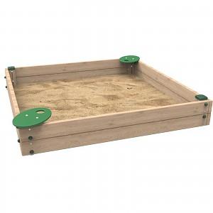 Sandkasten KAMI 2m x 2m x 0,30m für den öffentlichen Bereich mit Sitzbrettern EN1176