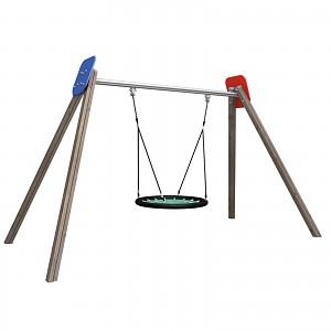 Nestschaukel komplett aus Holz, HDPE und Metall für öffentliche Spielplätze, Schulen, Kindergärten EN1176