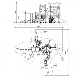 MODUS Mega Spielturm mit Tunnelrutsche Maße