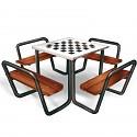 Sitzgruppe für 4 Personen mit Schachbrett -Tisch für öffentlichen Spielplätze , Altenheime, Schulen