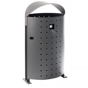 Abfallbehälter Mülleimer Dara 95L im eleganten modernen Design fuer öffentliche Plätze in Städten, Parkanlagen, Spielplätze