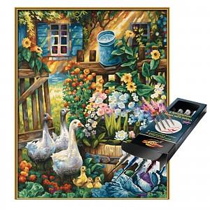 Malen nach Zahlen Gänse im Garten inkl. Pinselset Set