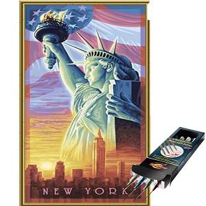 Malen nach Zahlen Freiheitsstatue 40x80 inkl. Pinselset