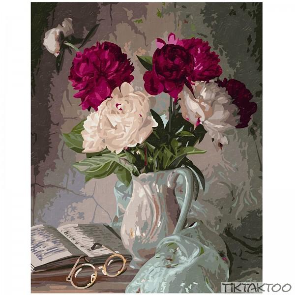 stillleben mit pfingstrosen malen nach zahlen schipper 40x50 cm rosen in vase ebay. Black Bedroom Furniture Sets. Home Design Ideas
