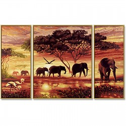 Painting By Numbers - Elephant Caravan Triptych 80x50