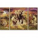 Malen nach Zahlen - SCHIPPER - Afrika - Die großen Fünf - Triptychon 50x80cm