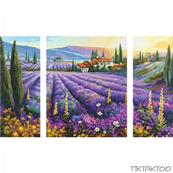 malen nach zahlen schipper lavendelfelder triptychon 50x80cm neuheit 2011 tiktaktoo. Black Bedroom Furniture Sets. Home Design Ideas