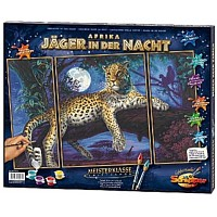 Malen nach Zahlen-Afrika-Jäger der Nacht Triptychon 50 x 80 cm