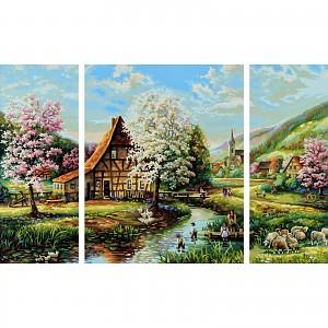 Malen nach Zahlen 609260664 Ländliche Idylle 40x80 Triptychon