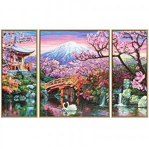 Malen nach Zahlen 609260751 Kirschblüte in Japan Triptychon 50x80cm