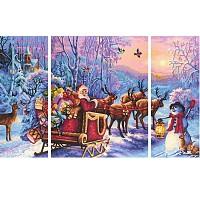 Malen nach Zahlen 609260758 Der Weihnachtsmann kommt ! Weihnachtsbild 2017 Triptychon 50x80cm