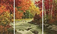 Malen nach Zahlen Flusslandschaft  Schipper Triptychon 50x80cm