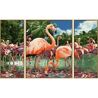 Flamingos Schipper 609260782 Malen nach Zahlen Triptychon Flamingo aus QVC bekannt