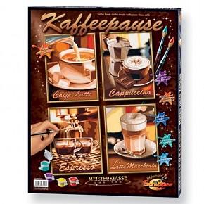 Malen nach Zahlen Kaffeepause Quattro 4 stabile Malkartons 18x24cm mit fühl- und sichtbarer Leinenstruktur