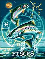 Malen nach Zahlen Sternzeichen / Tierkreiszeichen Fische 18x24